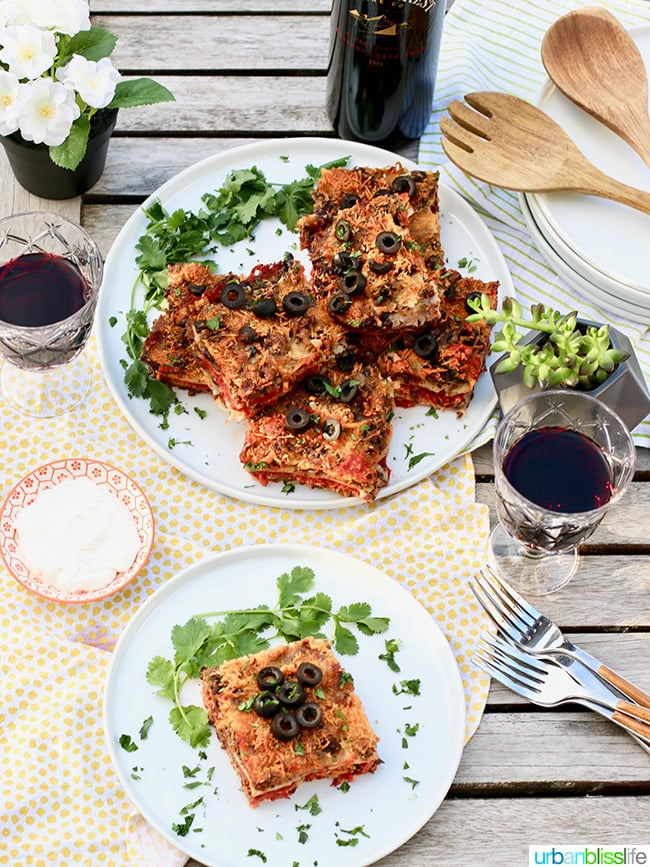 Mexican Lasagna tablesetting with wine