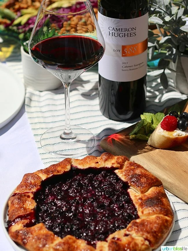 sunny summer soiree red wine blueberry galette