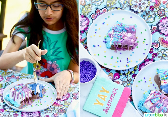 eating ice cream cake and homemade magic shell