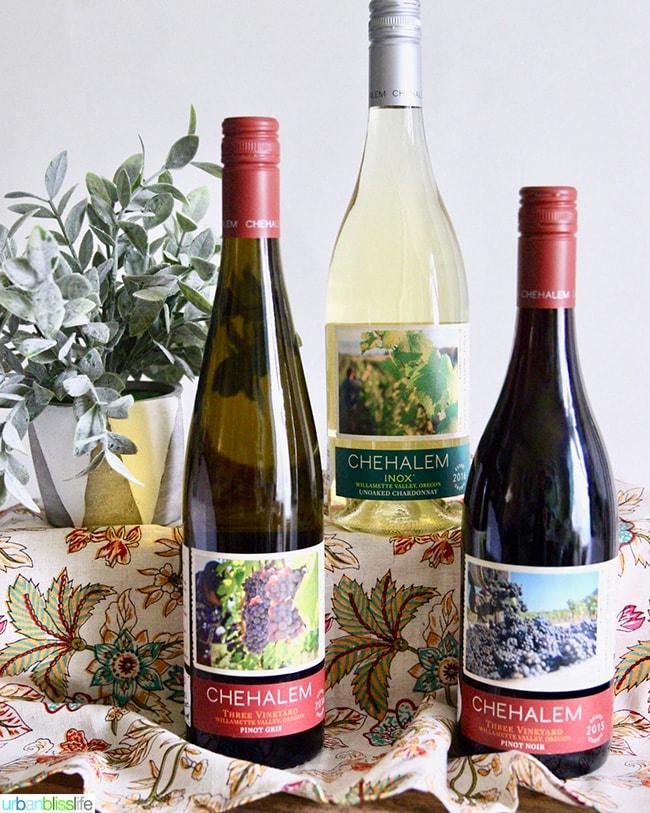 Chehalem Wines: Inox unoaked Chardonnay, Three Vineyards Pinot Gris, Three Vineyards Pinot Noir