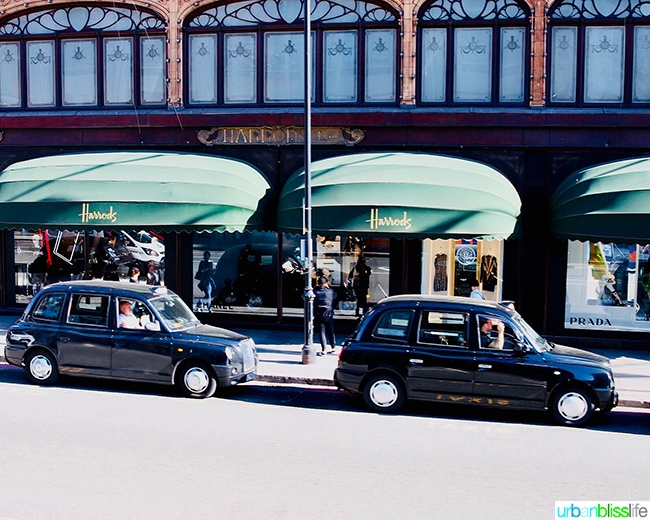 Harrod's London department store shopping taxis