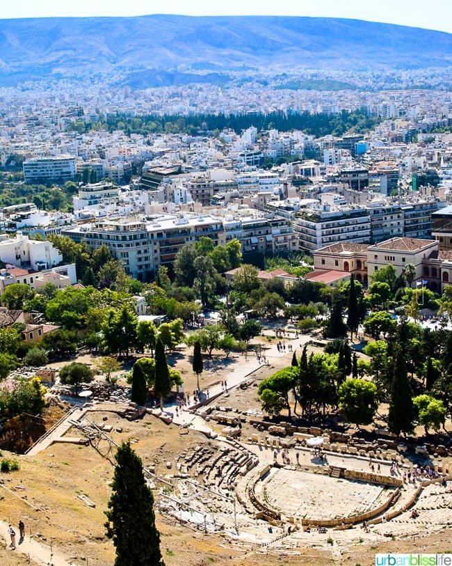 view of Theater of Dionysus at the Acropolis in Athens, Greece