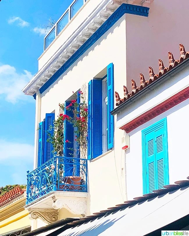 iconic blue and white house in Athens Greece
