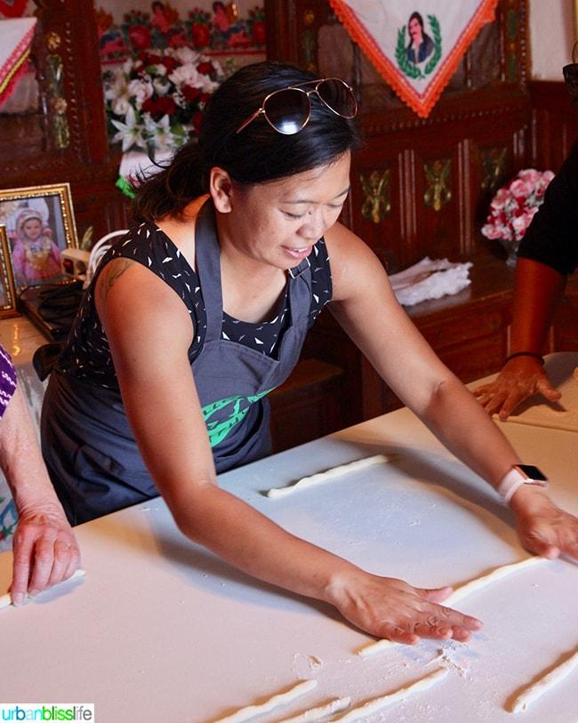 Marlynn making makarounes pasta in Olympos Karpathos Greece