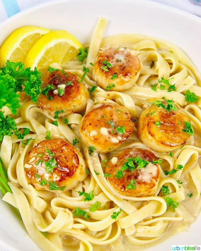 Seared Scallops Pasta with Creamy Lemon Garlic Sauce (Dairy Free)
