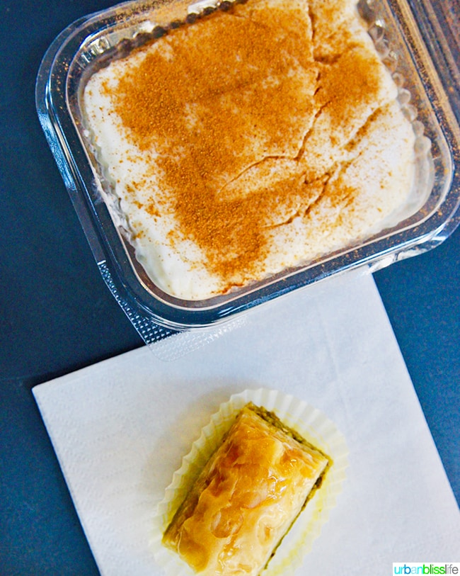 Greek baklava and tavuk Greek rice pudding in Athens, Greece