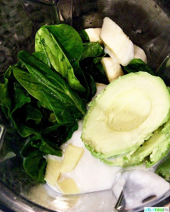 Avocado Green Smoothie ingredients in Vitamix blender