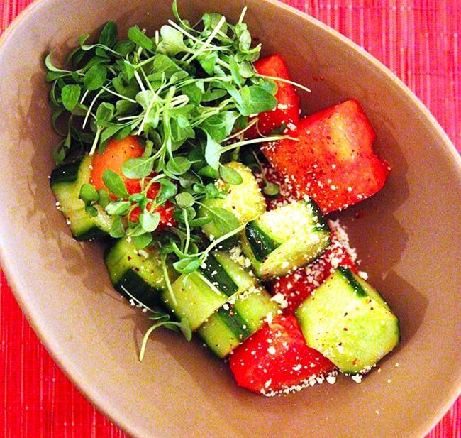 cucumber salad at Oveja Negra restaurant