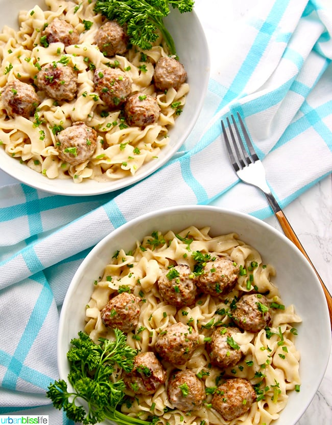 Instant Pot Swedish Meatballs Dairy-Free two bowls