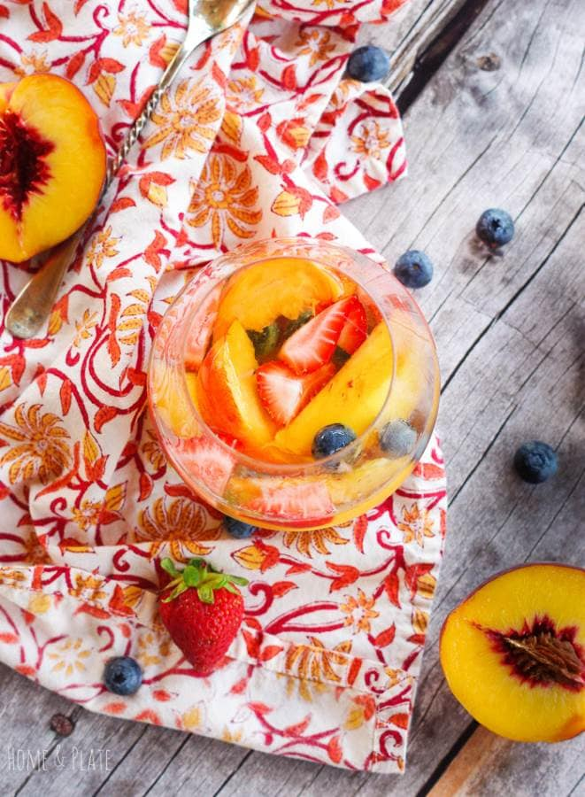Fruity Elderflower Sangria brunch cocktail recipe