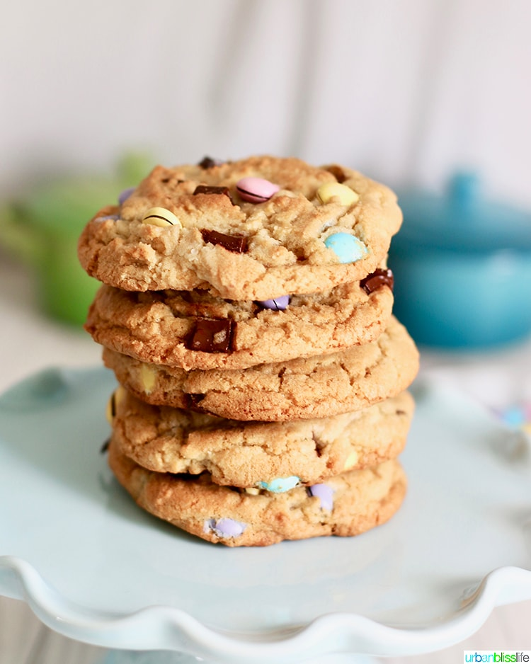 stack of Giant Chocolate Chip M & M Cookies
