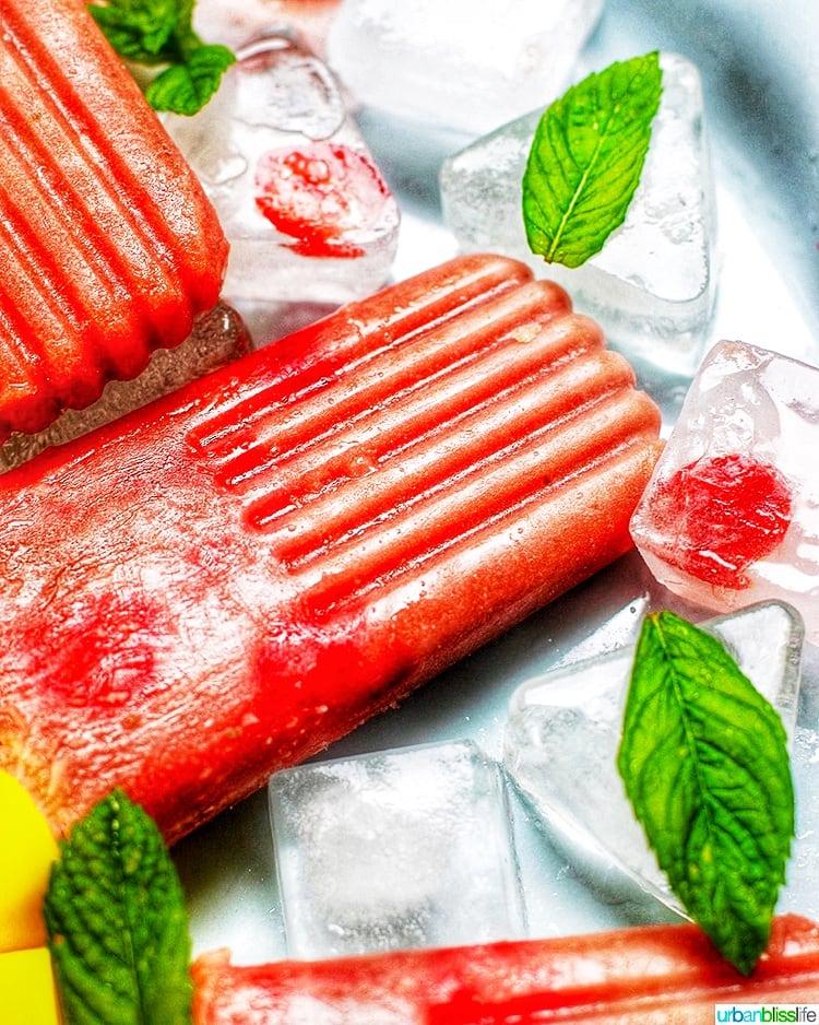 Strawberry Rhubarb Mint Popsicles close up
