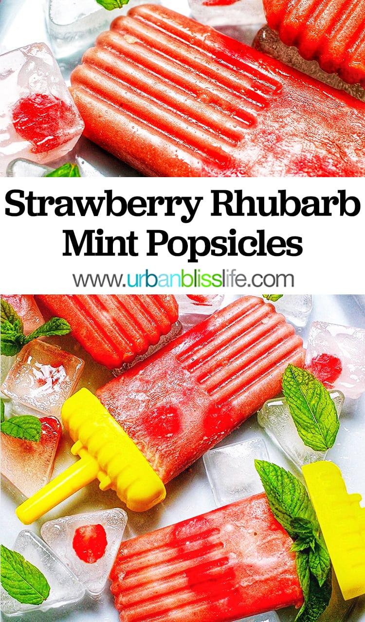 Strawberry Rhubarb Mint Popsicles