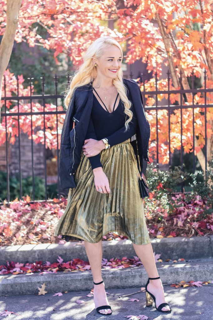pleated-gold-skirt-leather-jacket