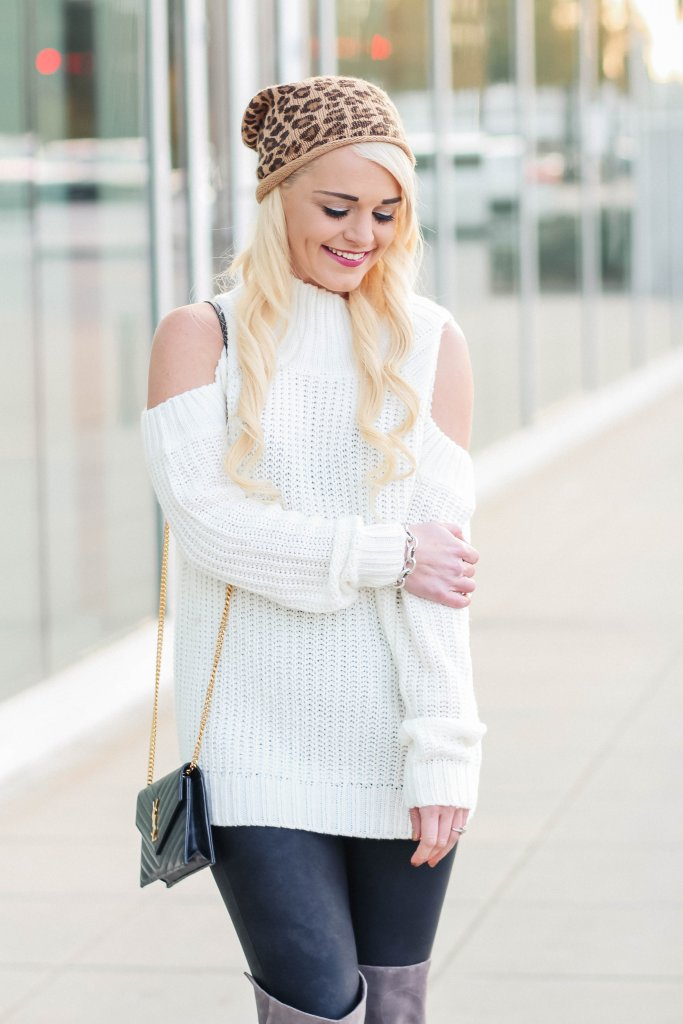 leopard-beanie-cold-shoulder-sweater