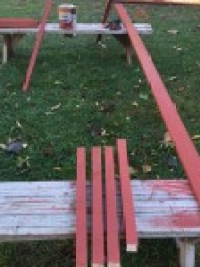 Staining Chicken Run Lumber - photo by Jen Pitino