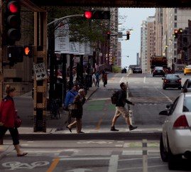 Pedestrians and Dearborn Street Protected Bike Lane