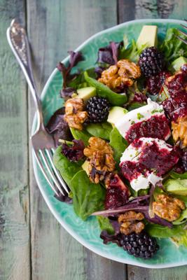 Texas Farner's Salad with Blackberry Lavender Vinaigrette