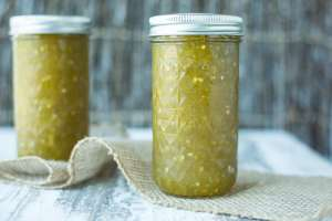 Green Tomato Jam in Tall Jars