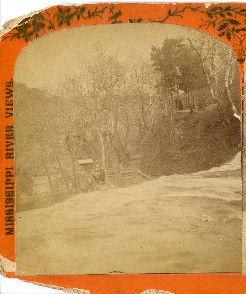 Half a stereo view from the late 1870s. You're looking east, over the lip of the Falls.
