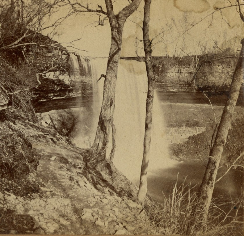 An early picture of the Falls. There is no sign of development beyond the foot path.