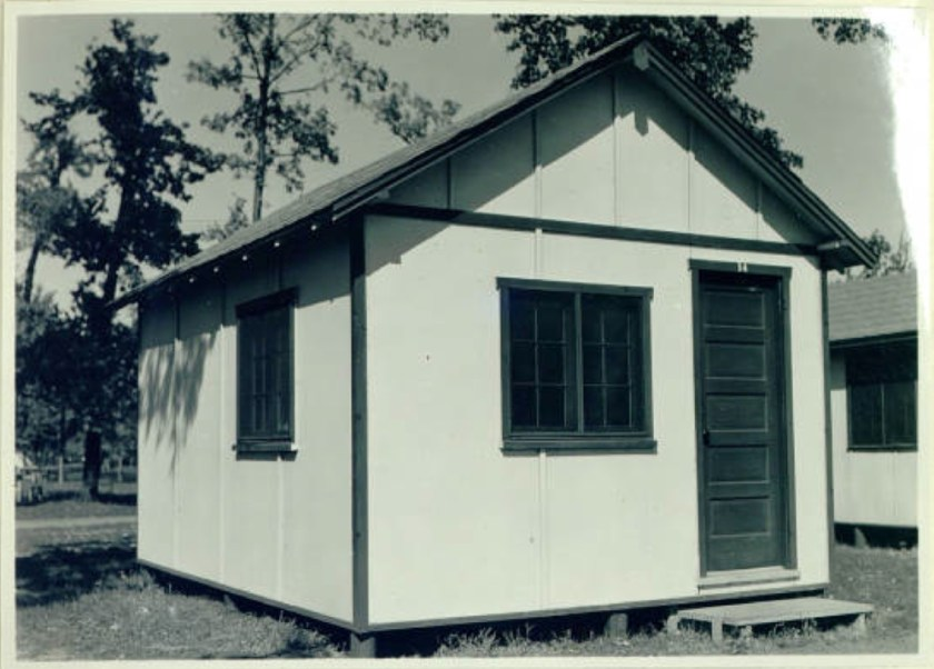 "One of the newly built cabins that the WPA constructed in the Tourist Camp in 1936. The original caption read: ""Tourist Cabin at the Municipal Tourist Camp. Ten new cabins were constructed by the W. P. A."" It was published in ""The Story of W.P.A. and Other Federal Aid Projects in the Minneapolis Parks, Parkways and Playgrounds, for the Year 1936, Minneapolis, Minnesota."" Courtesy Minneapolis Park Board"