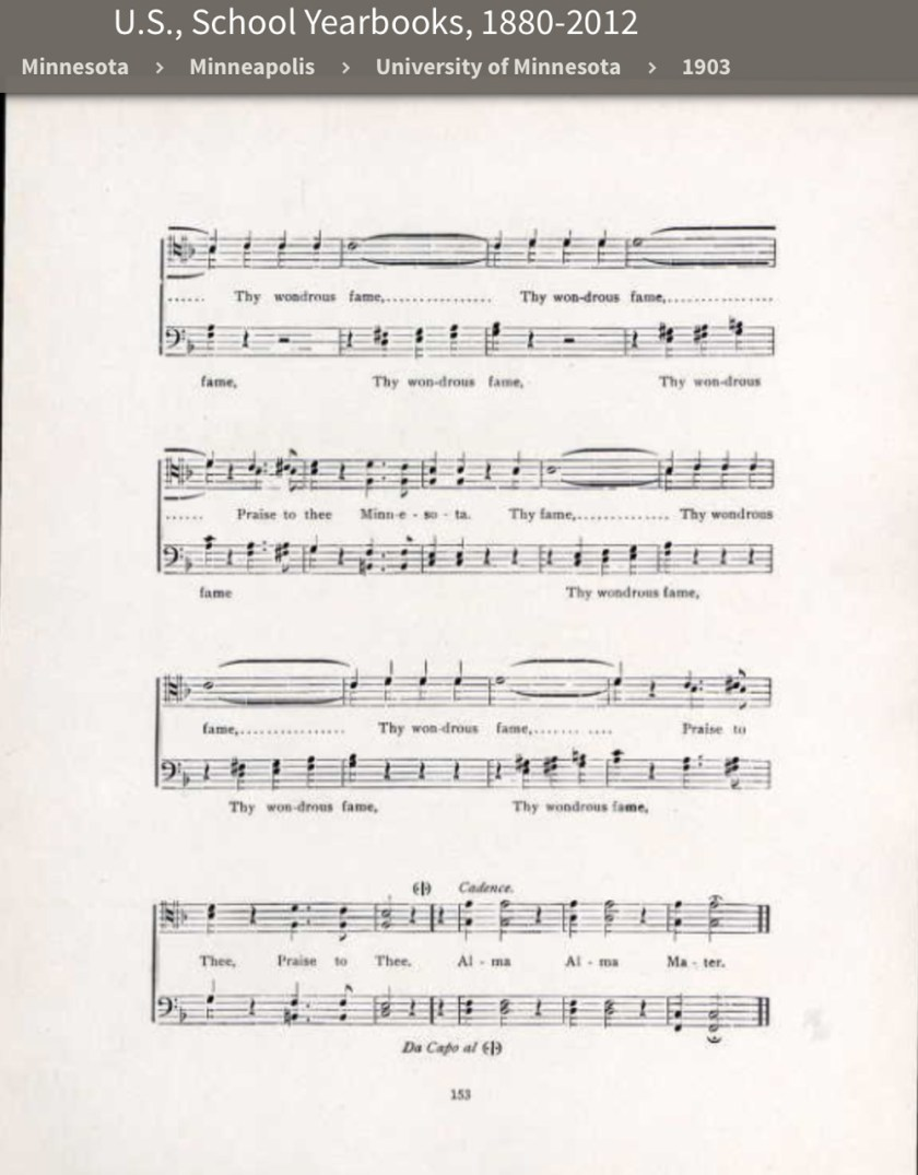 "page 2 of the sheet music to ""Our Alma Mater"""