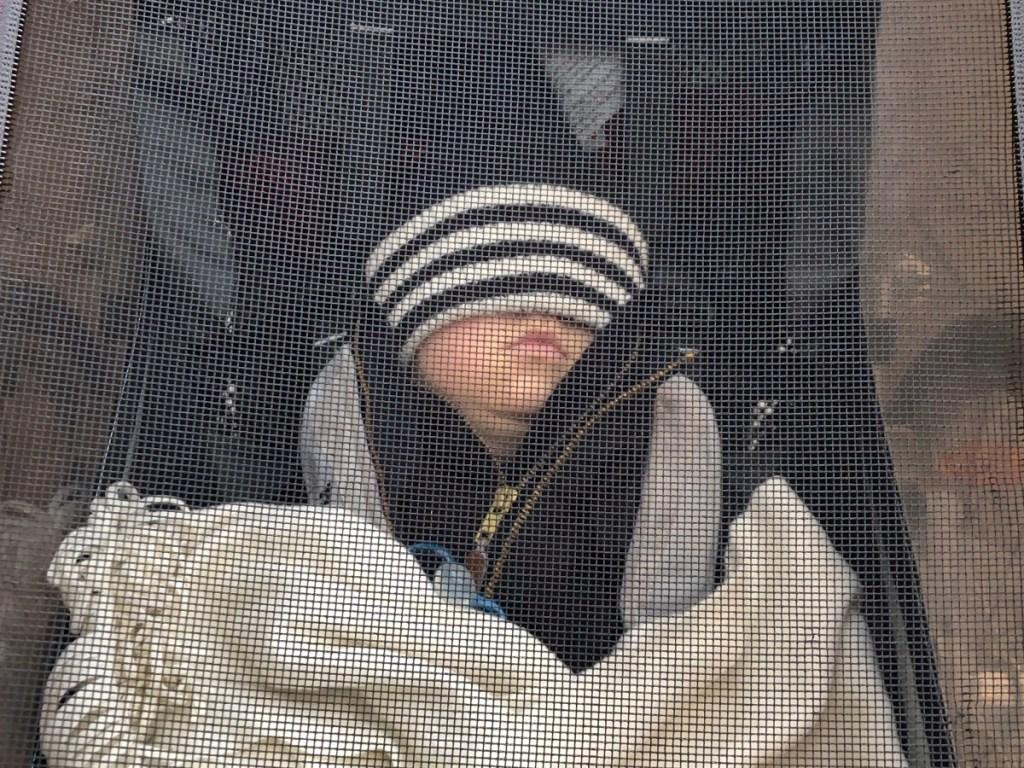 Barn i Thule multisportvagn sovandes