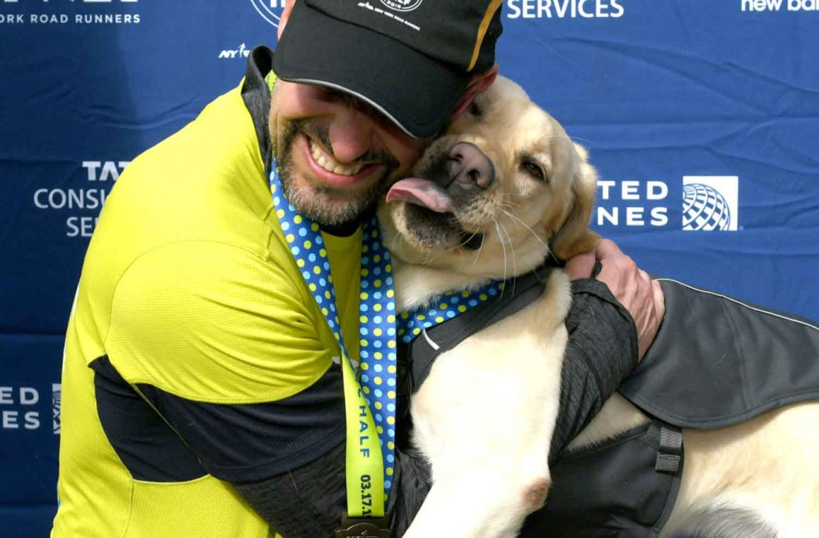 Dogs in the New Marathoner Thomas Panek and One of his Guide Dogs