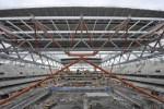 Hissage de la toiture du Grand Stade de Villeneuve d'Asq
