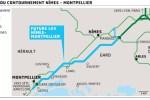 Le tracé du contournement Nîmes - Montpellier.