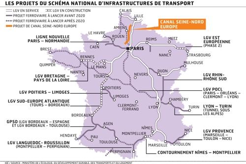 Les projets du Schéma national d'infrastructures de transport.