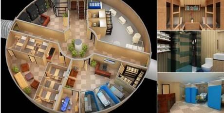 Un abri tel que proposé par Vivos. Ici une petite unité capable de recevoir 50 personnes