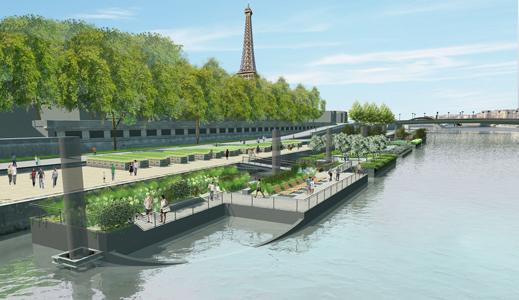 Le jardin flottant sur la Seine, au niveau du port du Gros Caillou.