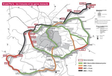 La carte des gares et des tronçons menacés du Grand Paris Express selon les élus UMP