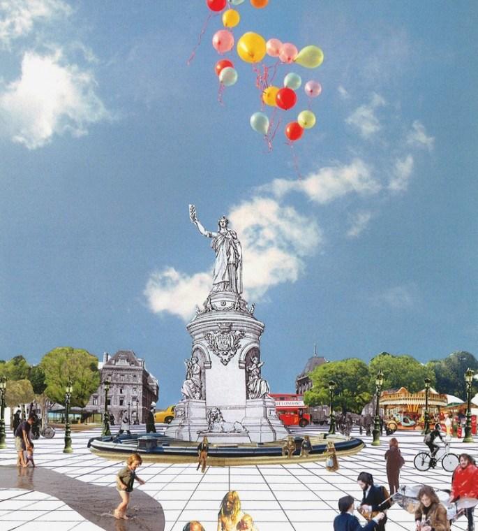 Collage du projet pour la place de la République
