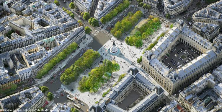 Vue aérienne de la future place