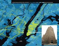 Ici, une représentation de l'infrastructure du réseau de fibre optique à New York et des différents degrés de connexion des territoires urbains