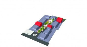 Vue d'une impasse type après densification de type BIMBY (en rouge) et retrait de la voiture. Crédits : Urbanews