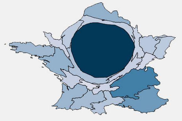 Cartogramme du PIB (Données publiques; 2008)