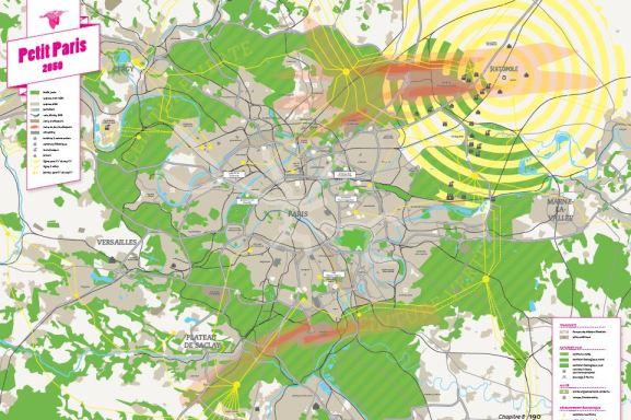 """La carte du """"SPPP"""" (Schéma pour un Petit Paris), nous l'appellerons ainsi. Ou Paris en 2050 avec seulement 9 millions d'habitants (Crédits cartographiques : Deuxdegrés)"""