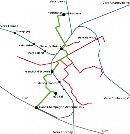 A Reims, la Gare de Champagne-Ardennes TGV est desservie par le tramway (vert) et le TER (bleu). Document : http://leportailferroviaire.free.fr/