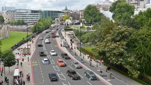 Piste cyclable dédiée - Londres - Transport for London