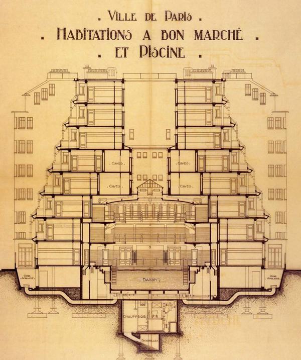 1916-1927. Immeuble d'habitation à bon marché, rue des Amiraux, Paris 18e - Coupe transversale © Fonds Sauvage, Henri (1873-1932)