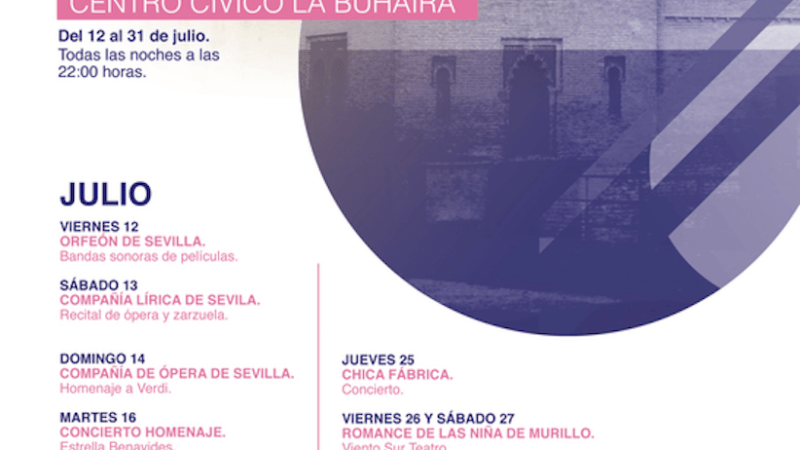 Once noches de música y teatro gratuitas en el Palacio de la Buhaira