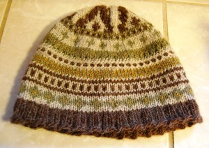 This hat combines lots of different patterns.