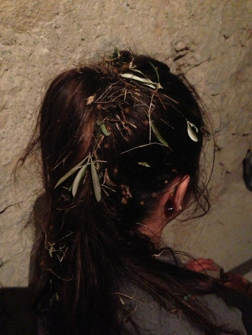 Leaves in my hair after a long day of work