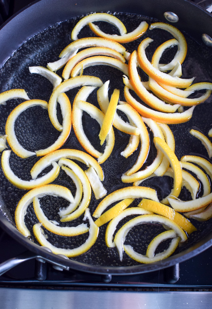 Candied orange peels cooking