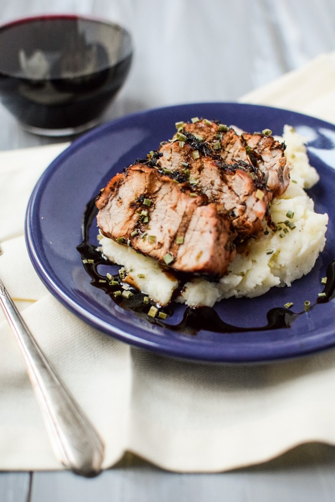 Grilled Apricot Glazed Pork Tenderloin + Mashed Potatoes