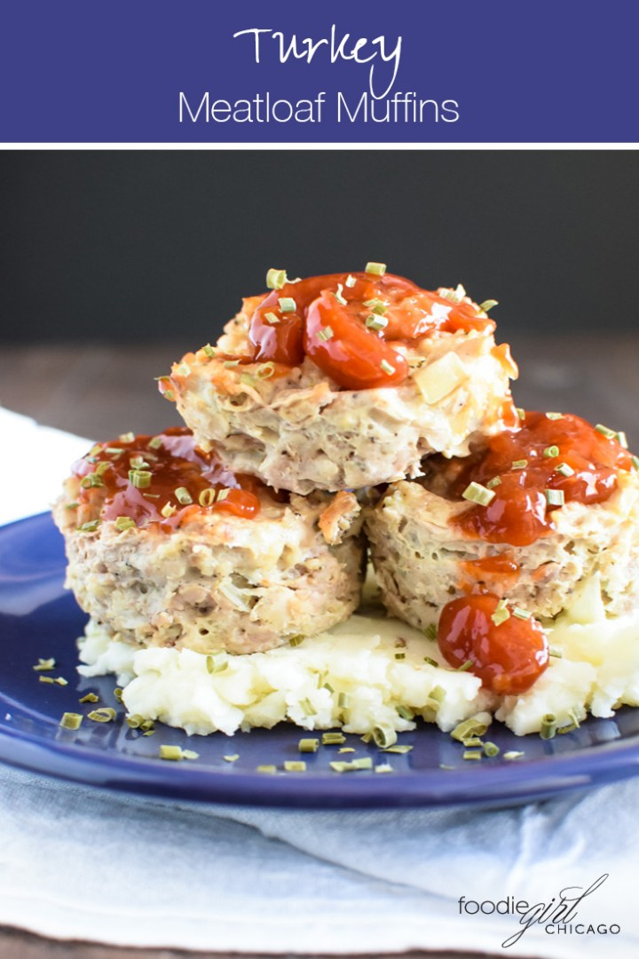 Three turkey meatloaf muffins stacked on cauliflower mashed potatoes